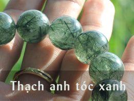 Vòng tay đá thạch anh tóc xanh thiên nhiên 8mm Grade 5A+